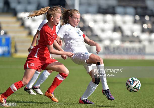 Leah Williamson of England and Marilena Widmer of Switzerland during the UEFA U19 Women's Qualifier between England and Switzerland at Seaview on...