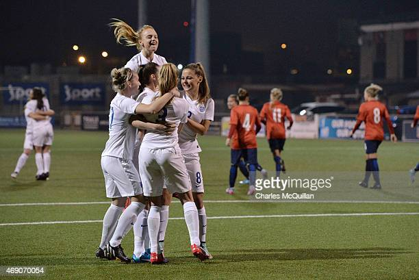 Leah Williamson of England celebrates with team mates after a retaking a last minute penalty during the UEFA U19 Women's Qualifier between England...