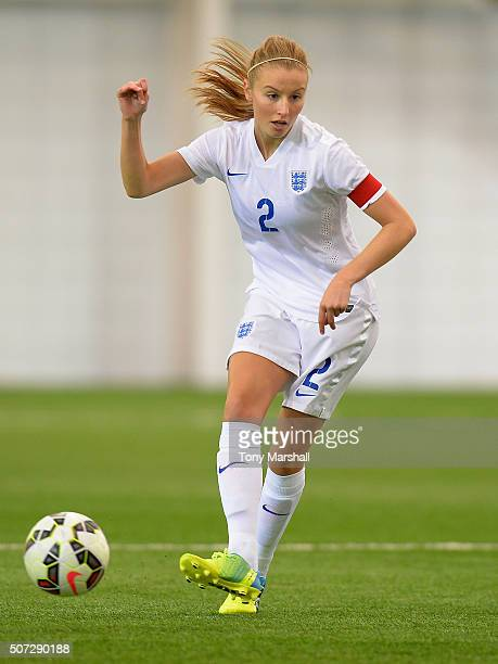 Leah Williamson of England during the U19 Women's Friendly match between England U19 Women and Norway U19 Women at St Georges Park on January 26 2016...