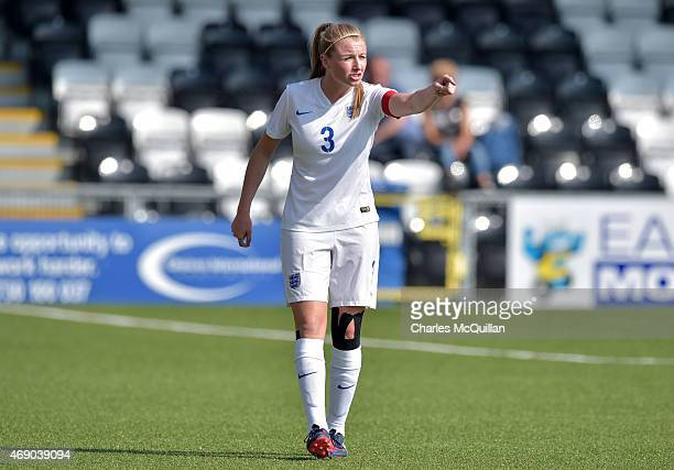 Leah Williamson of England during the UEFA U19 Women's Qualifier between England and Switzerland at Seaview on April 9 2015 in Belfast Northern...