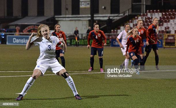 Leah Williamson of England scores from a retaken last minute penalty during the UEFA U19 Women's Qualifier between England and Norway at Seaview on...
