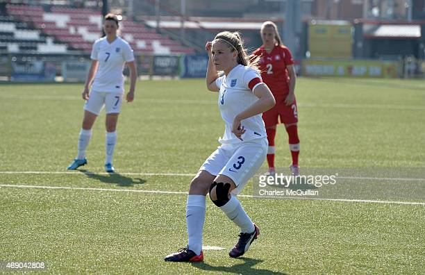 Leah Williamson of England scores with a penalty during the UEFA U19 Women's Qualifier between England and Switzerland at Seaview on April 9 2015 in...