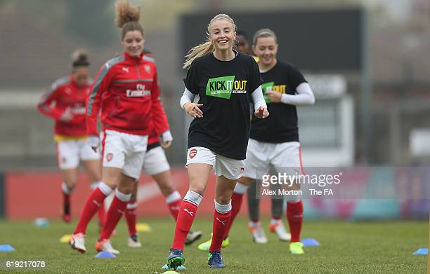 Leah Williamson warms up during the WSL 1 match between Arsenal Ladies FC and Doncaster Rovers Belles at Meadow Park on October 30 2016 in...