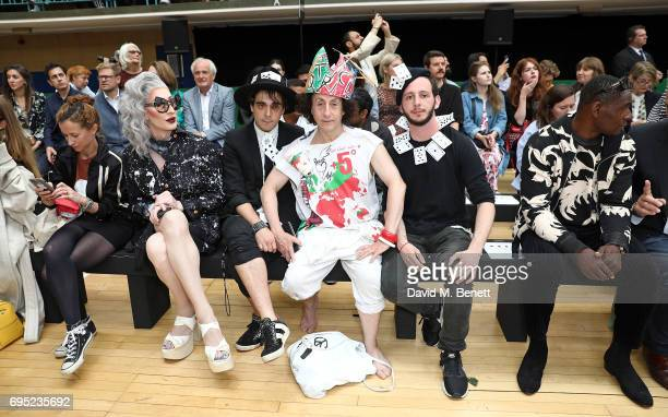 Leah Wood Detox guest Philip Salon guest and David Harewood attend the Vivenne Westwood SS18 show during the London Fashion Week Men's June 2017...