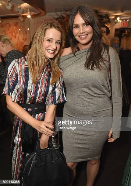 Leah Wyar and Candice Huffine attend the Hearst 100 at Michael's Restaurant on December 11 2017 in New York City