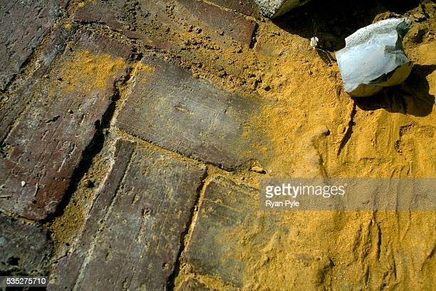 A leak from one of the yellow bags allows the fake fish feed to spread out on the ground in Tian Village This region of China is famous for producing...