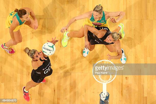 Leana de Bruin of New Zealand rebounds the ball during the International Test Match between the Australian Diamonds and the New Zealand Silver Ferns...