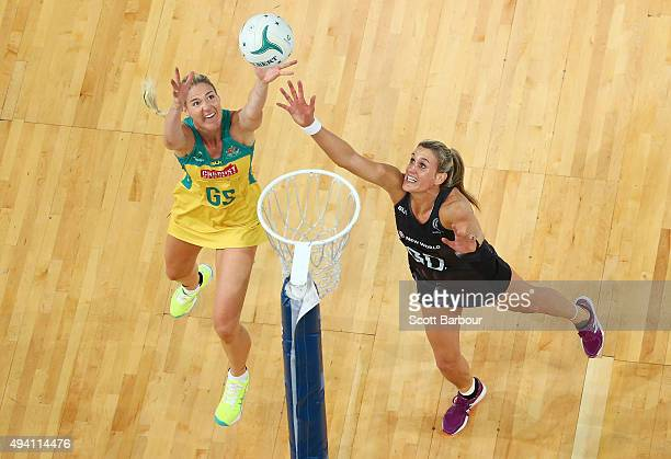 Leana de Bruin of the Silver Ferns and Caitlin Bassett of the Diamonds compete for the ball during the International Test match between the Australia...