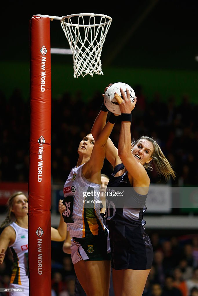 Leana de Bruin of the Silver Ferns and Lenize Potgieter of the Proteas contest the ball during the International Test Match between the New Zealand...