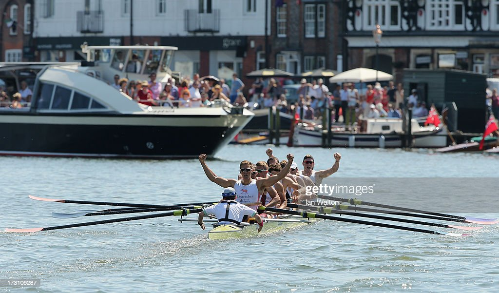 Leander Club & Minerva Bath Rowing Club celebrate victory in the Princess Grace Challenge Cup on day five of the Henley Royal Regatta on on July 7, 2013 in Henley-on-Thames, England.