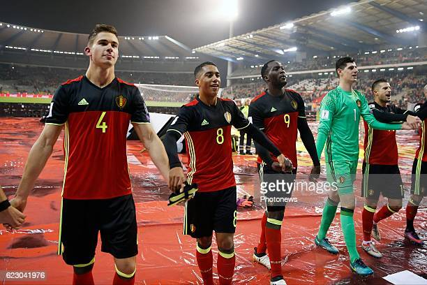 Leander Dendoncker midfielder of Belgium and Youri Tielemans midfielder of Belgium and Romelu Lukaku forward of Belgium team of Belgium celebrates...