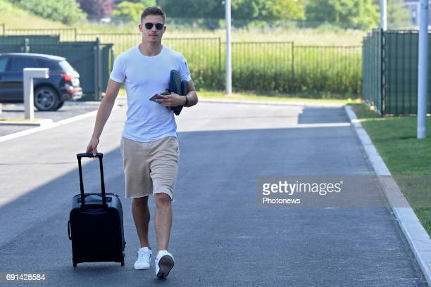 Leander Dendoncker midfielder of Belgium arrives at the Martin's Red hotel prior to the friendly macth against Czech Republic as a preparation for...