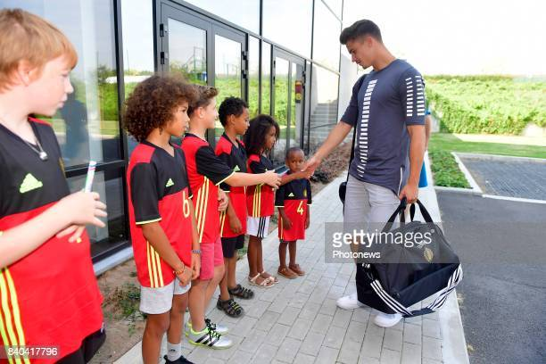 Leander Dendoncker midfielder of Belgium arrives at the Martin's Red hotel prior to the World Cup 2018 qualification games against Gibraltar and...