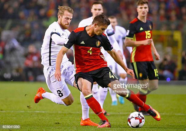 Leander Dendoncker midfielder of Belgium during the World Cup Qualifier Group H match between Belgium and Estonia at the King Baudouin Stadium on...