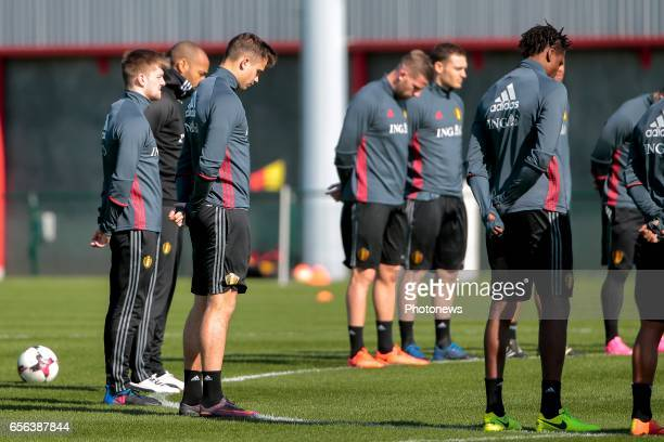 Leander Dendoncker midfielder of Belgium pictured during a moment of silence for the victims of the Brussel terrorist attacks prior to the...