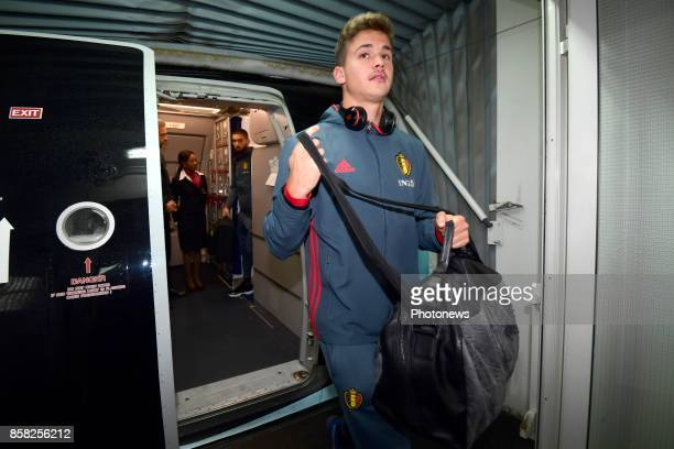 Leander Dendoncker midfielder of Belgium pictured during the arrival of the National Soccer Team of Belgium prior to the 2018 World Cup qualifier...