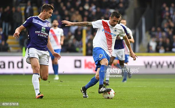 Leander Dendoncker midfielder of RSC Anderlecht and Claudemir de Souza Domingues midfielder of Club Brugge during the Jupiler Pro League match...