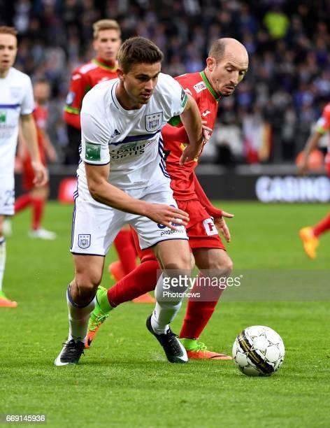 Leander Dendoncker midfielder of RSC Anderlecht and Franck Berrier midfielder of KV Oostende during the Jupiler Pro League play off 1 match between...