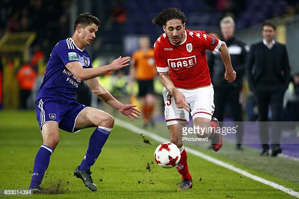 Leander Dendoncker midfielder of RSC Anderlecht and Ishak Belfodil forward of Standard Liege during the Jupiler Pro League match between RSC...