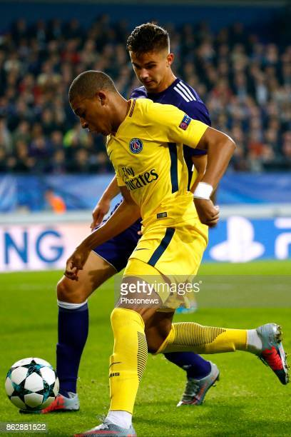 Leander Dendoncker midfielder of RSC Anderlecht and Kylian Mbappe forward of PSG during the Champions League Group B match between RSC Anderlecht and...