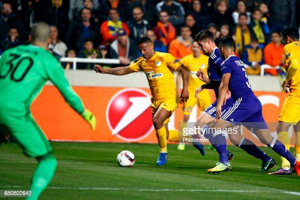Leander Dendoncker midfielder of RSC Anderlecht and Lorenzo Ebecilio of Apoel during the match between Apoel Nicosia and Rsc Anderlecht UEFA Europa...