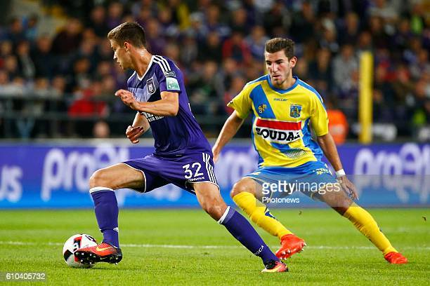 Leander Dendoncker midfielder of RSC Anderlecht and Michael Heylen defender of KVC Westerlo pictured during Jupiler Pro League match between RSC...