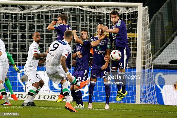 Leander Dendoncker midfielder of RSC Anderlecht and Sofiane Hanni midfielder of RSC Anderlecht pictured during Croky Cup match between RSC Anderlecht...