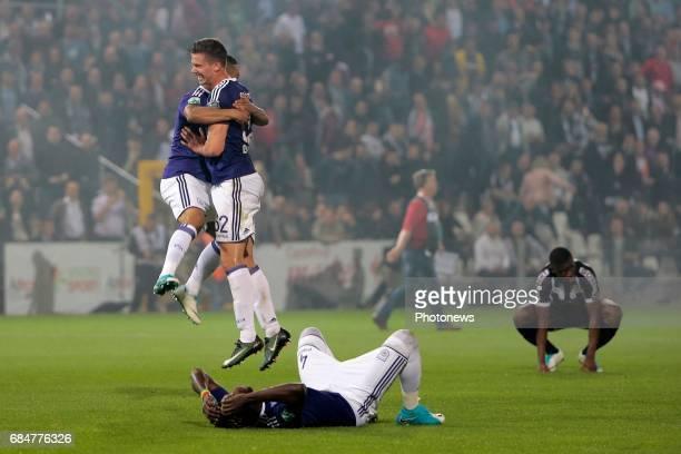 Leander Dendoncker midfielder of RSC Anderlecht and Youri Tielemans midfielder of RSC Anderlecht celebrate winning the championship after the Jupiler...