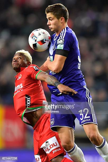 Leander Dendoncker midfielder of RSC Anderlecht battles for the ball with Gohi Bi Zoro Cyriac forward of KV Oostende during the Jupiler Pro League...