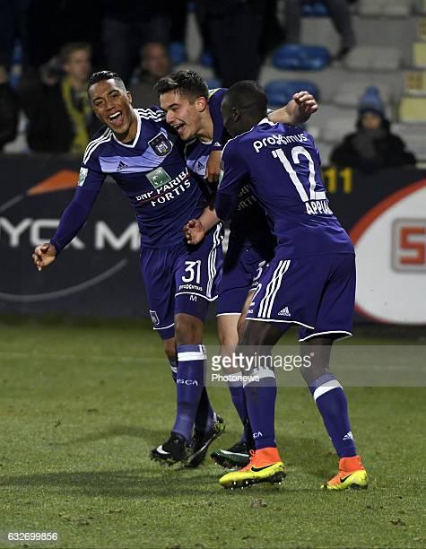 Leander Dendoncker midfielder of RSC Anderlecht celebrates with teammates after scoring pictured during Jupiler Pro League match between Westerlo and...