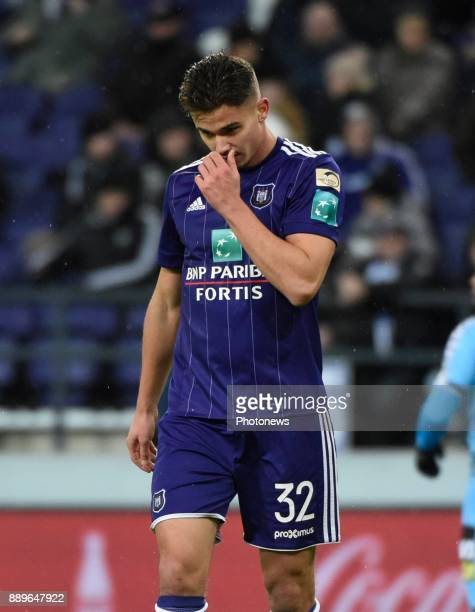 Leander Dendoncker midfielder of RSC Anderlecht disappointed after loosing the game pictured during the Jupiler Pro League match between RSC...