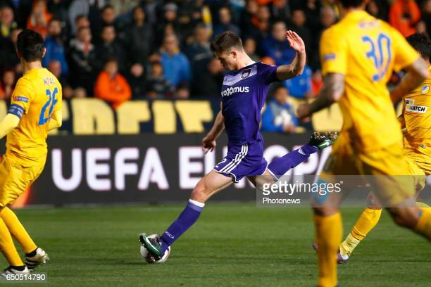 Leander Dendoncker midfielder of RSC Anderlecht during the match between Apoel Nicosia and Rsc Anderlecht UEFA Europa League Round of 16 first Leg in...