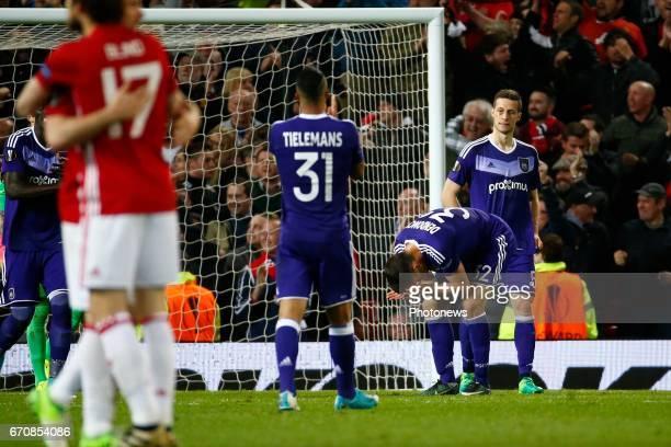 Leander Dendoncker midfielder of RSC Anderlecht during the match between Manchester United and Rsc Anderlecht UEFA Europa League quarter final second...