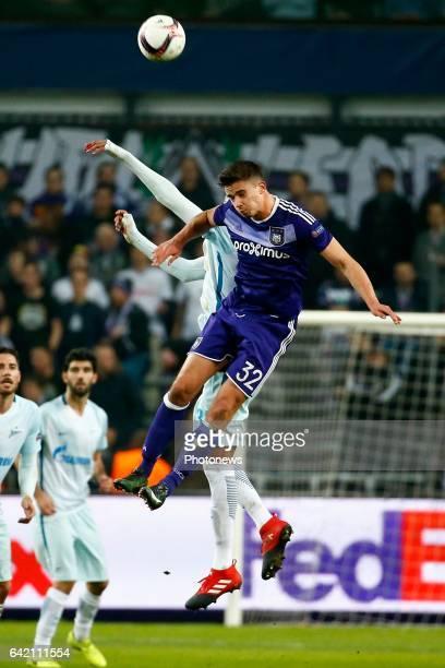 Leander Dendoncker midfielder of RSC Anderlecht during the match between RSC Anderlecht and Zenit St Petersburg UEFA Europa League Round of 32 First...