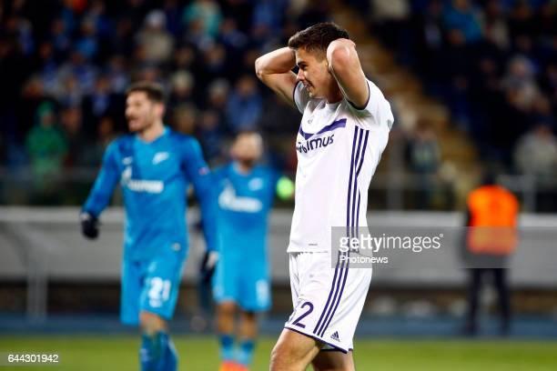 Leander Dendoncker midfielder of RSC Anderlecht during the match between Zenit St Petersburg and Rsc Anderlecht UEFA Europa League Round of 32 second...