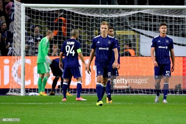 Leander Dendoncker midfielder of RSC Anderlecht looks dejected during the Champions League Group B match between RSC Anderlecht and Paris...