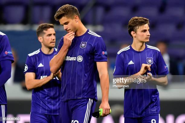 Leander Dendoncker midfielder of RSC Anderlecht looks dejected on the final whistle after the defeat during the Champions League Group B match...