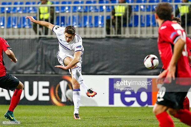 Leander Dendoncker midfielder of RSC Anderlecht pictured during the Europa League match between Qabala PFk and Rsca in Baku Azerbaijan
