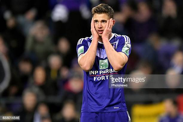 Leander Dendoncker midfielder of RSC Anderlecht shows dejection during the Jupiler Pro League match between RSC Anderlecht and Standard de Liege on...