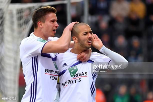 Leander Dendoncker midfielder of RSC Anderlecht Sofiane Hanni midfielder of RSC Anderlecht scores the opening goal during the Jupiler Pro League play...