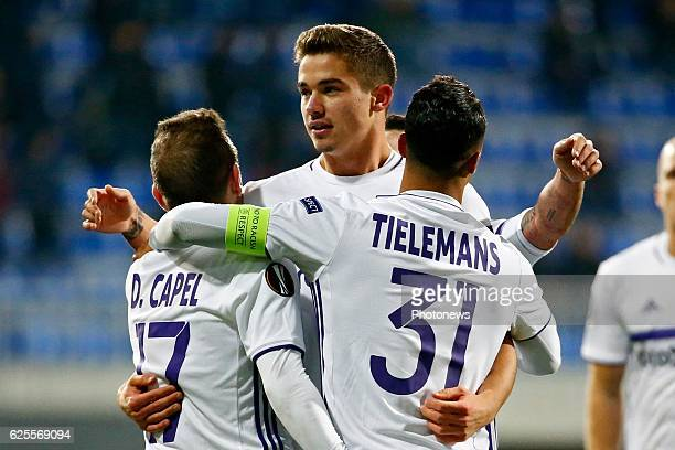 Leander Dendoncker midfielder of RSC Anderlecht Youri Tielemans midfielder of RSC Anderlecht scores and celebrates pictured during the Europa League...