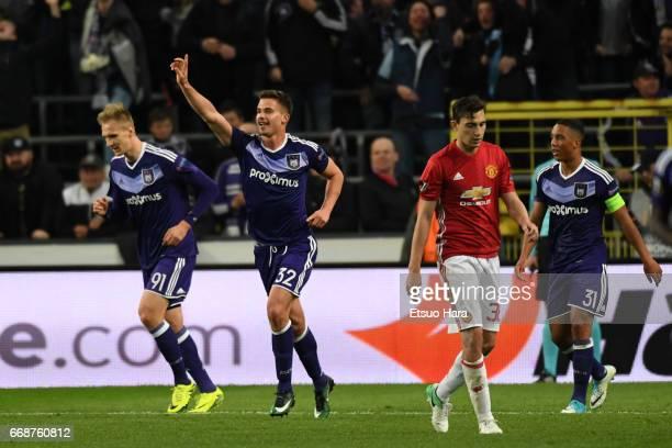 Leander Dendoncker of Anderlecht celebrates scoring his side's first goal during the UEFA Europa League quarter final first leg match between RSC...