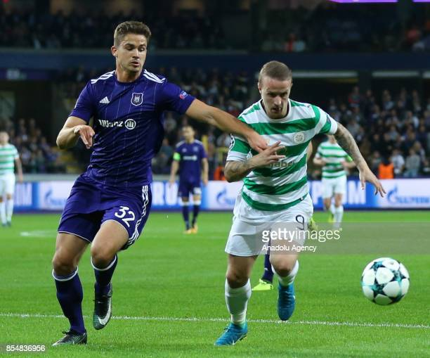 Leander Dendoncker of Anderlecht in action against Leigh Griffiths of Celtic Glasgow during the UEFA Champions League Group B match between...
