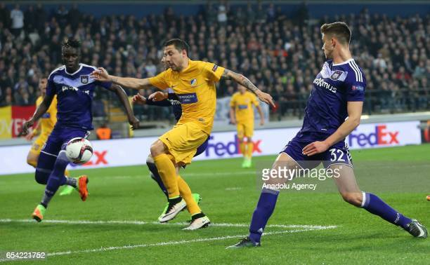 Leander Dendoncker of Anderlecht in action during the UEFA Europa League round of 16 soccer match between Anderlecht and Apoel Nicosia at Constant...
