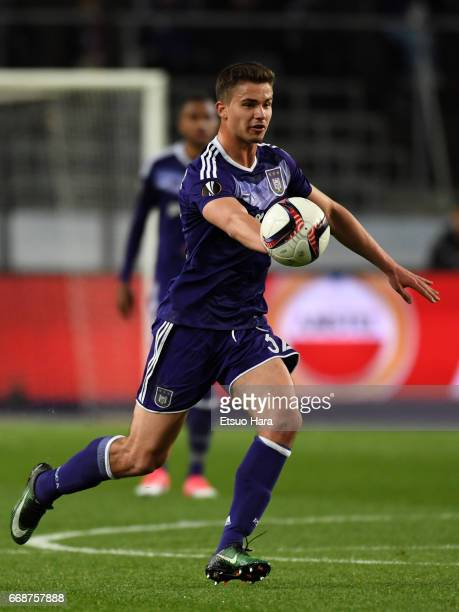 Leander Dendoncker of Anderlecht in action during the UEFA Europa League quarter final first leg match between RSC Anderlecht and Manchester United...