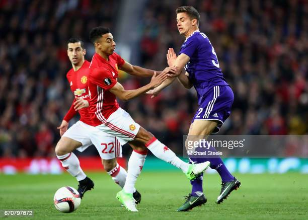 Leander Dendoncker of RSC Anderlecht and Jesse Lingard of Manchester United battle for the ball during the UEFA Europa League quarter final second...