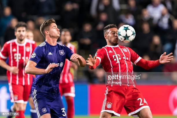 Leander Dendoncker of RSC Anderlecht Corentin Tolisso of FC Bayern Munich during the UEFA Champions League group B match between RSC Anderlecht and...