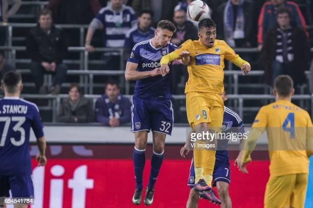 Leander Dendoncker of RSC Anderlecht Igor De Camargo of Apoel FCduring the UEFA Europa League round of 16 match between RSC Anderlecht and APOEL on...