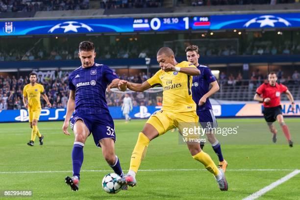 Leander Dendoncker of RSC Anderlecht Kylian Mbappe of Paris SaintGermain during the UEFA Champions League group B match between RSC Anderlecht and...