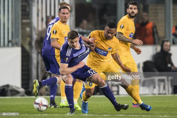 Leander Dendoncker of RSC Anderlecht Lorenzo Ebecilio of Apoel FCduring the UEFA Europa League round of 16 match between RSC Anderlecht and APOEL on...